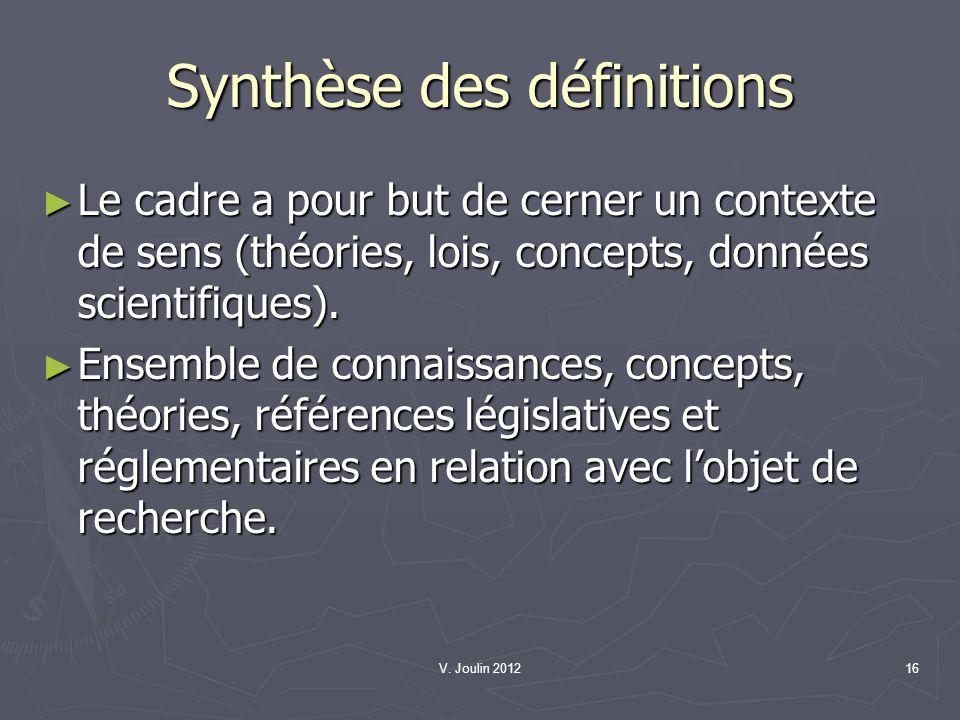V. Joulin 201216 Synthèse des définitions Le cadre a pour but de cerner un contexte de sens (théories, lois, concepts, données scientifiques). Le cadr