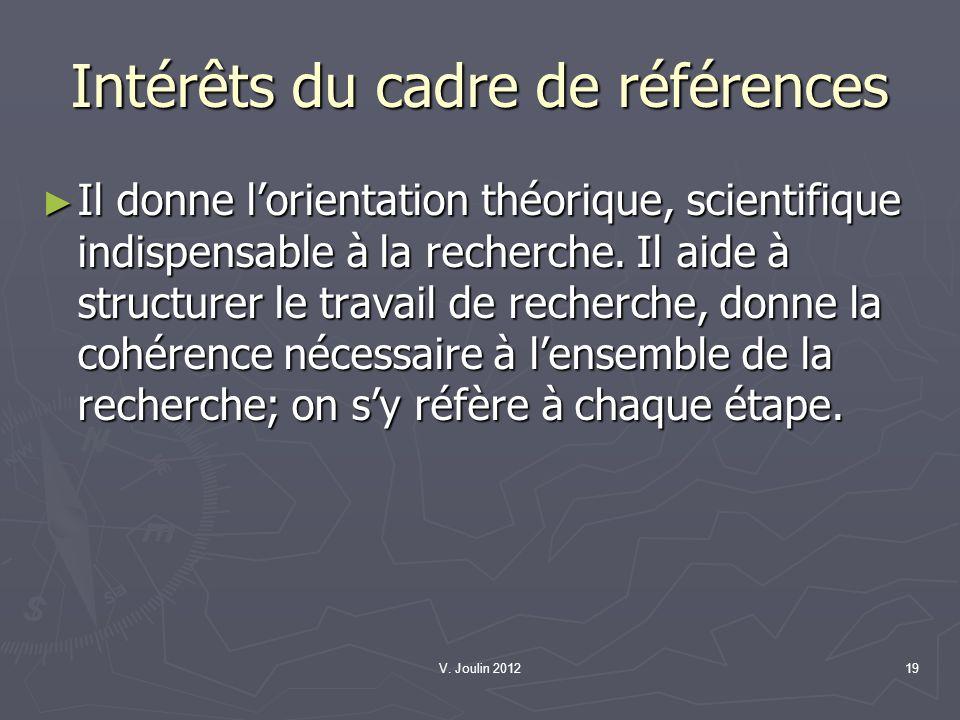 V. Joulin 201219 Intérêts du cadre de références Il donne lorientation théorique, scientifique indispensable à la recherche. Il aide à structurer le t
