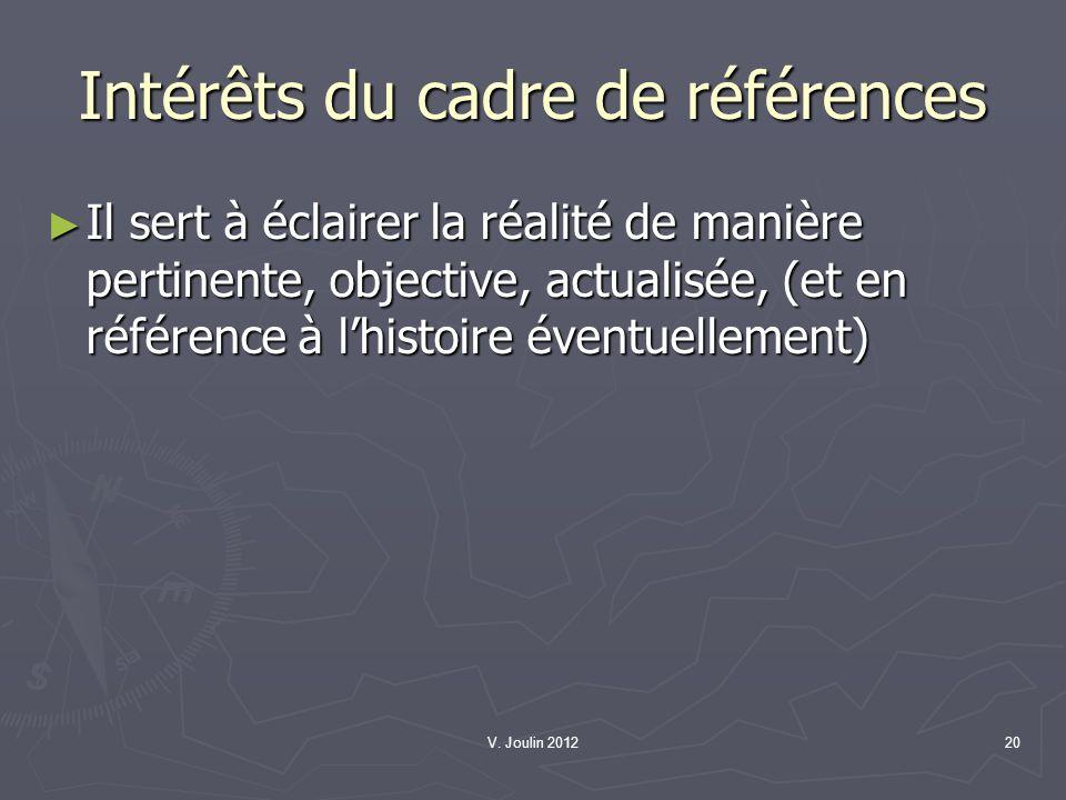 V. Joulin 201220 Intérêts du cadre de références Il sert à éclairer la réalité de manière pertinente, objective, actualisée, (et en référence à lhisto