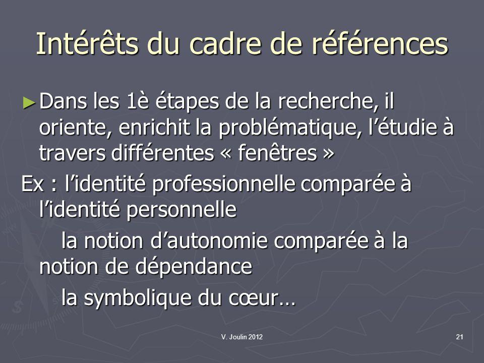 V. Joulin 201221 Intérêts du cadre de références Dans les 1è étapes de la recherche, il oriente, enrichit la problématique, létudie à travers différen
