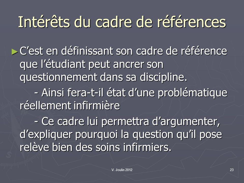 V. Joulin 201223 Intérêts du cadre de références Cest en définissant son cadre de référence que létudiant peut ancrer son questionnement dans sa disci