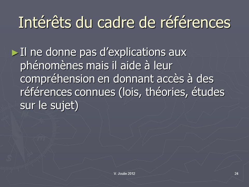 V. Joulin 201224 Intérêts du cadre de références Il ne donne pas dexplications aux phénomènes mais il aide à leur compréhension en donnant accès à des