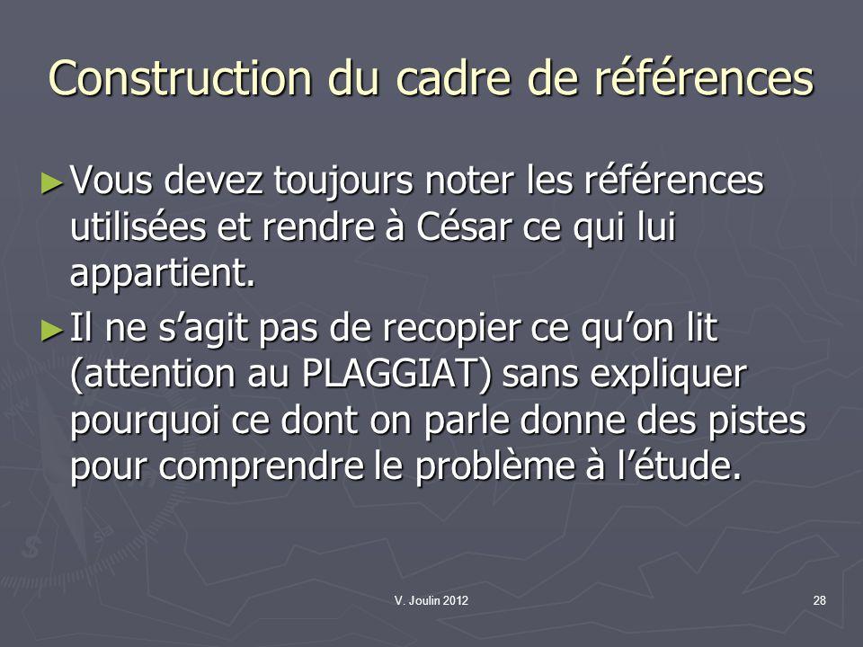 V. Joulin 201228 Construction du cadre de références Vous devez toujours noter les références utilisées et rendre à César ce qui lui appartient. Vous