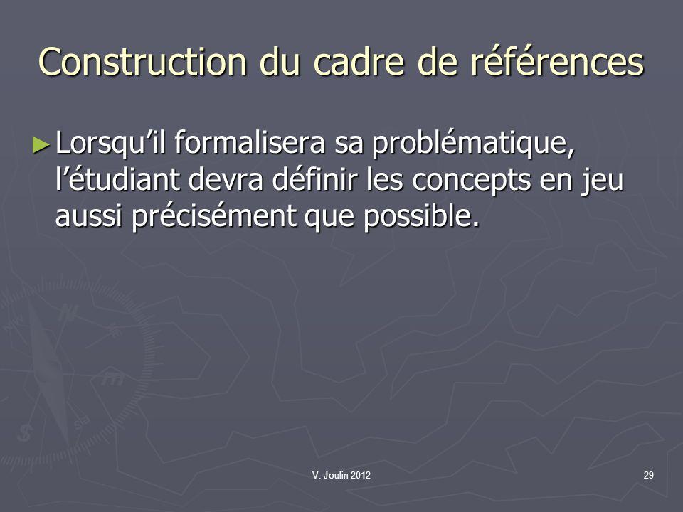 V. Joulin 201229 Construction du cadre de références Lorsquil formalisera sa problématique, létudiant devra définir les concepts en jeu aussi précisém