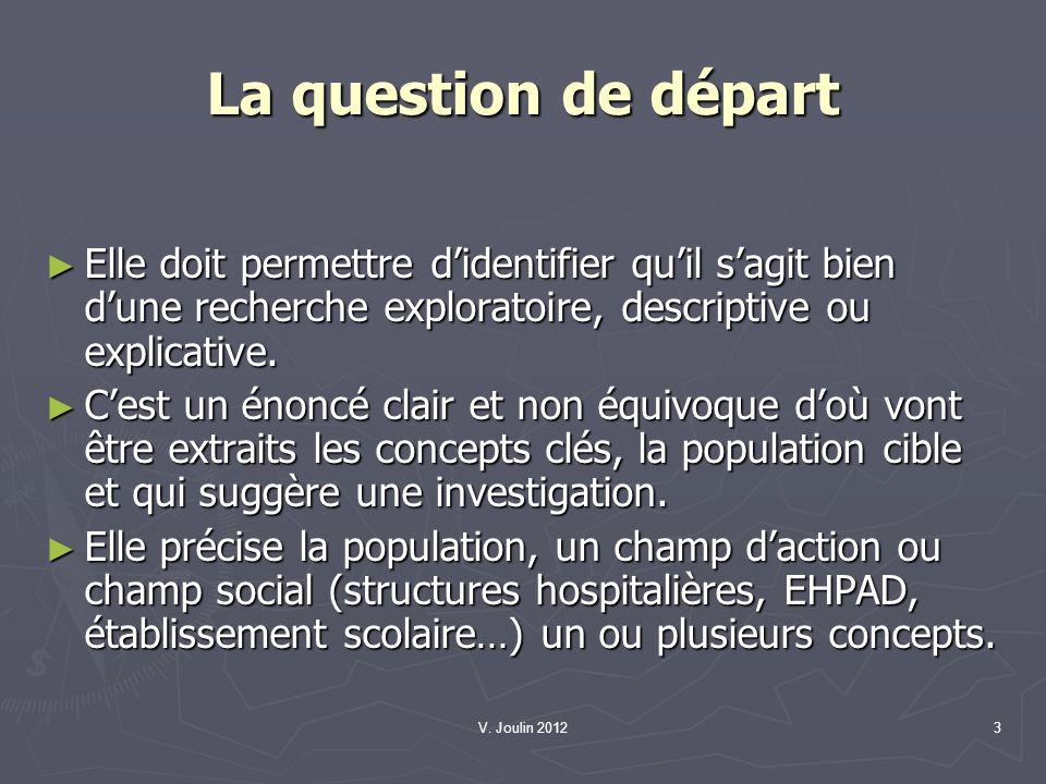V. Joulin 20123 La question de départ Elle doit permettre didentifier quil sagit bien dune recherche exploratoire, descriptive ou explicative. Elle do