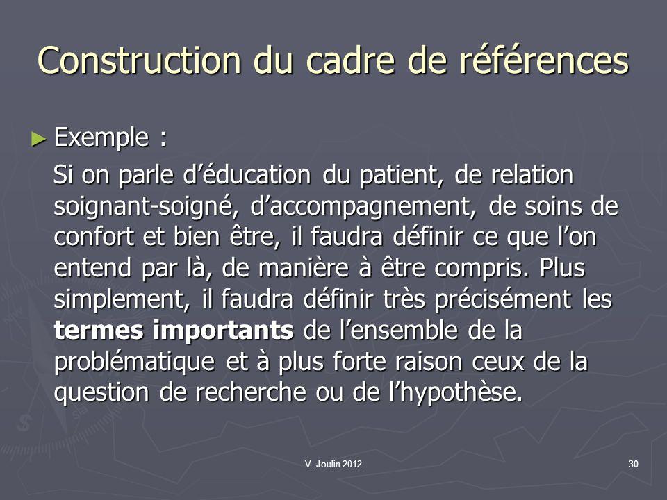 V. Joulin 201230 Construction du cadre de références Exemple : Exemple : Si on parle déducation du patient, de relation soignant-soigné, daccompagneme