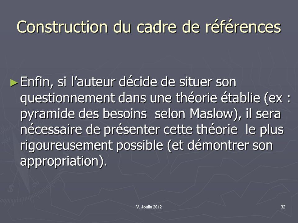 V. Joulin 201232 Construction du cadre de références Enfin, si lauteur décide de situer son questionnement dans une théorie établie (ex : pyramide des