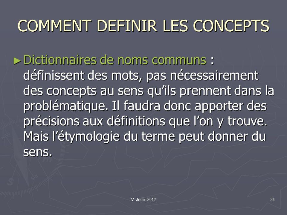 V. Joulin 201234 COMMENT DEFINIR LES CONCEPTS Dictionnaires de noms communs : définissent des mots, pas nécessairement des concepts au sens quils pren