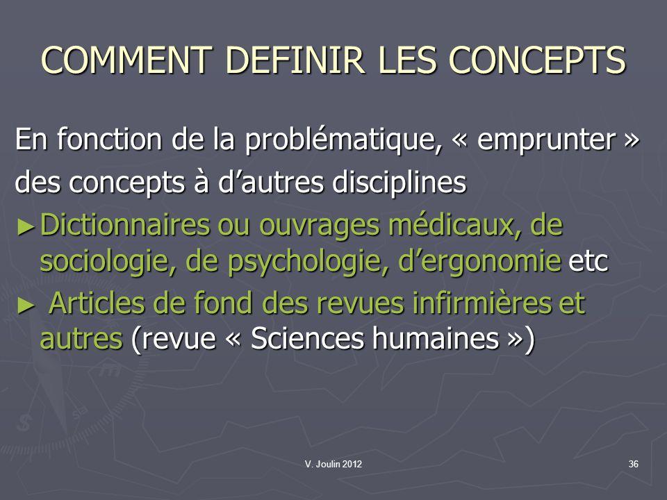 V. Joulin 201236 COMMENT DEFINIR LES CONCEPTS En fonction de la problématique, « emprunter » des concepts à dautres disciplines Dictionnaires ou ouvra