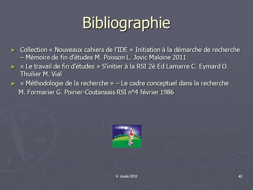 V. Joulin 201242 Bibliographie Collection « Nouveaux cahiers de lIDE » Initiation à la démarche de recherche – Mémoire de fin détudes M. Poisson L. Jo