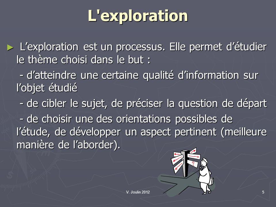 V. Joulin 20125 L'exploration Lexploration est un processus. Elle permet détudier le thème choisi dans le but : Lexploration est un processus. Elle pe