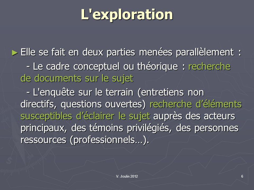 V. Joulin 20126 L'exploration Elle se fait en deux parties menées parallèlement : Elle se fait en deux parties menées parallèlement : - Le cadre conce