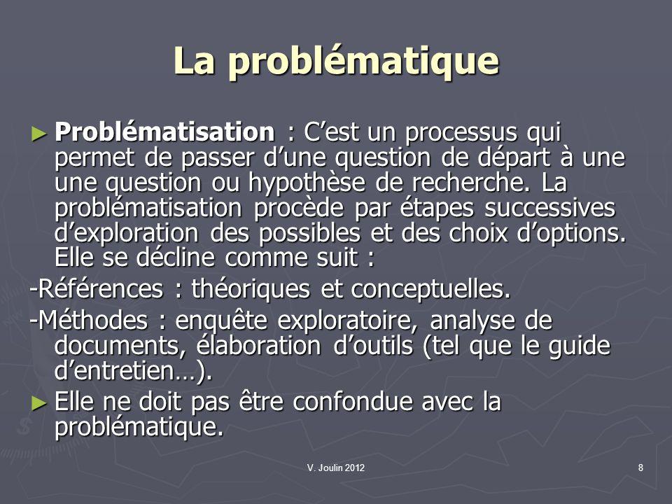 V. Joulin 20128 La problématique Problématisation : Cest un processus qui permet de passer dune question de départ à une une question ou hypothèse de