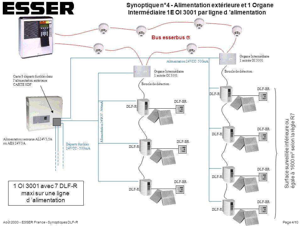 Alimentation 24VCC 500mA Organe Intermédiaire 4E/2S OI 3000 Convertisseur 12/24V CONV12/24 dans le tableau EUROPA 3000 DLF-R Boucle de détection Bus esserbus Surface surveillée inférieure ou égale à 1600 m² selon la règle R7 DLF-BR (optionnel) Organe Intermédiaire 4E/2S OI 3000 Alimentation 24VCC 500mA Synoptique n°5 - Alimentation tableau et Organes Intermédiaires 4E/2S OI 3000 avec réarmement automatique DLF-BR (optionnel) DLF-BR (optionnel) Organe Intermédiaire 4E/2S OI 3000 Boucle de détection Page 5/10 3 OI 3000 maxi avec 1 DLF-R par OI 3000 Août 2000 - ESSER France - Synoptiques DLF-R