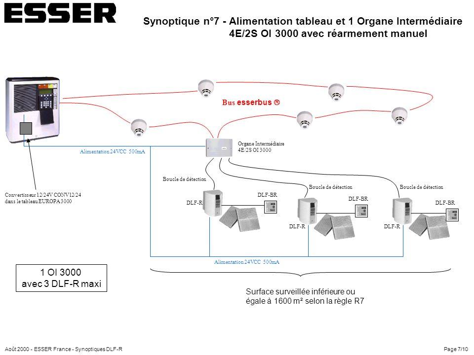 Alimentation 24VCC 500mA Organe Intermédiaire 4E/2S OI 3000 Convertisseur 12/24V CONV12/24 dans le tableau EUROPA 3000 DLF-R Boucle de détection Bus e