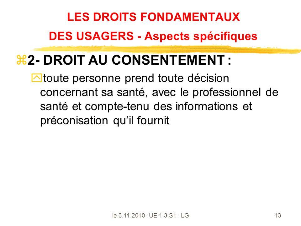 le 3.11.2010 - UE 1.3.S1 - LG13 LES DROITS FONDAMENTAUX DES USAGERS - Aspects spécifiques z2- DROIT AU CONSENTEMENT : ytoute personne prend toute déci