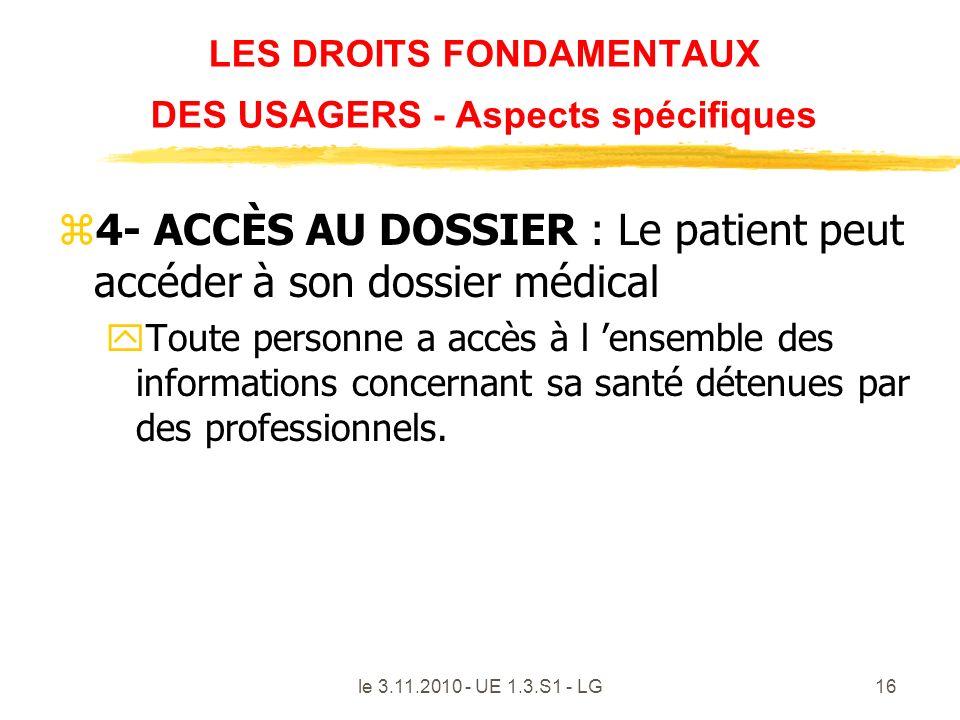 le 3.11.2010 - UE 1.3.S1 - LG16 LES DROITS FONDAMENTAUX DES USAGERS - Aspects spécifiques z4- ACCÈS AU DOSSIER : Le patient peut accéder à son dossier