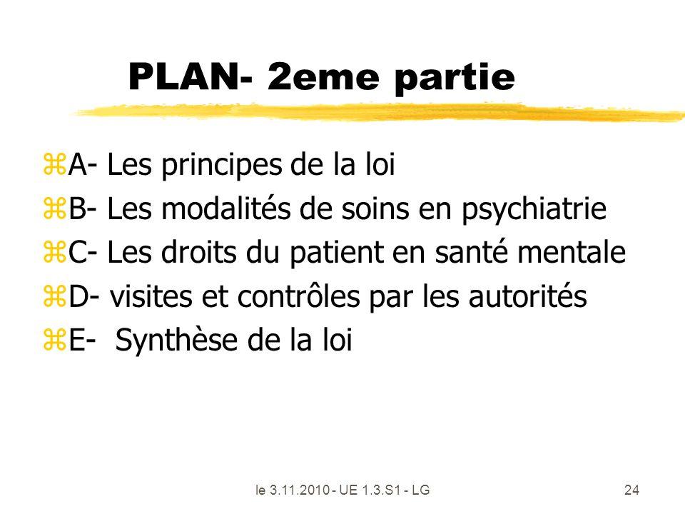 le 3.11.2010 - UE 1.3.S1 - LG24 PLAN- 2eme partie zA- Les principes de la loi zB- Les modalités de soins en psychiatrie zC- Les droits du patient en s