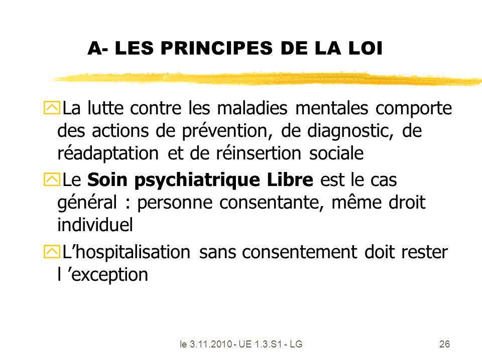 A- LES PRINCIPES DE LA LOI yLa lutte contre les maladies mentales comporte des actions de prévention, de diagnostic, de réadaptation et de réinsertion