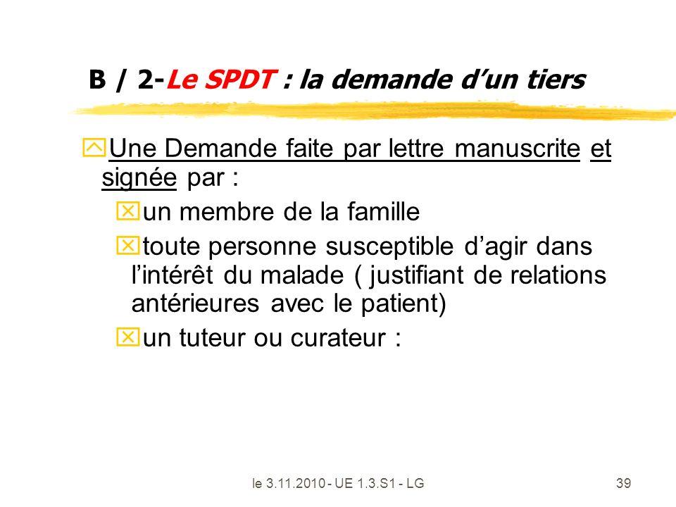 le 3.11.2010 - UE 1.3.S1 - LG39 B / 2-Le SPDT : la demande dun tiers y Une Demande faite par lettre manuscrite et signée par : x un membre de la famil