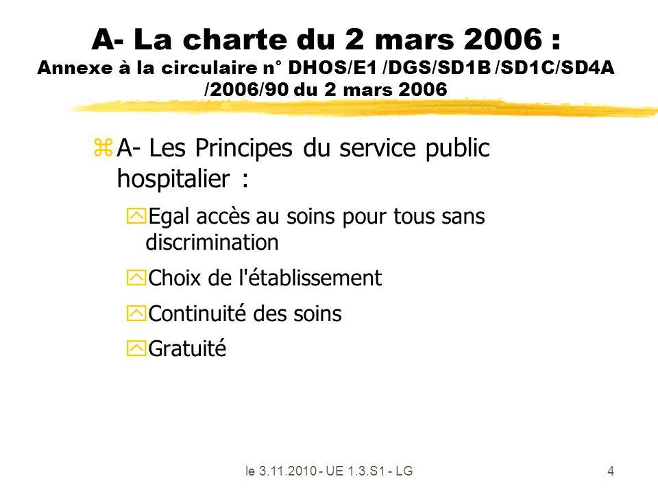 le 3.11.2010 - UE 1.3.S1 - LG4 A- La charte du 2 mars 2006 : Annexe à la circulaire n° DHOS/E1 /DGS/SD1B /SD1C/SD4A /2006/90 du 2 mars 2006 zA- Les Pr