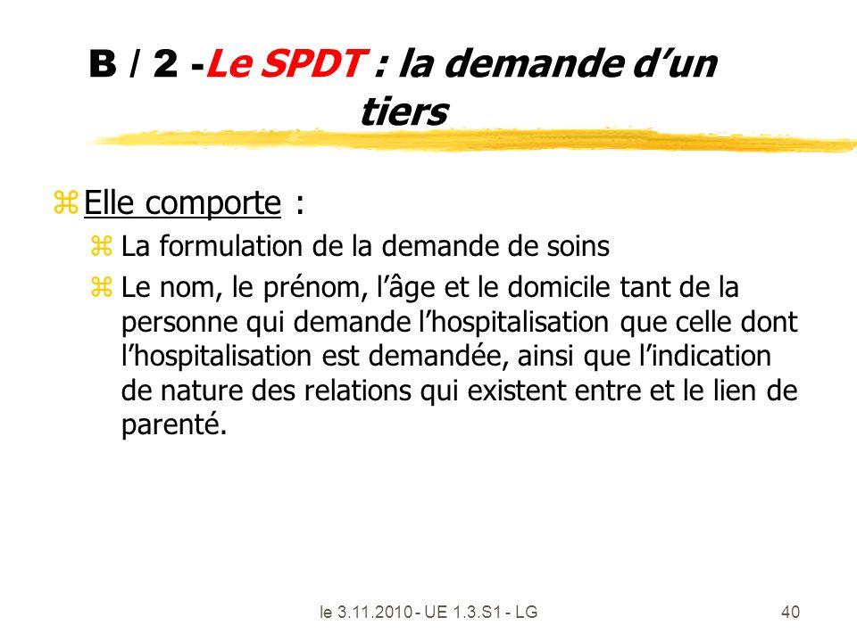 B / 2 - Le SPDT : la demande dun tiers z Elle comporte : z La formulation de la demande de soins z Le nom, le prénom, lâge et le domicile tant de la p