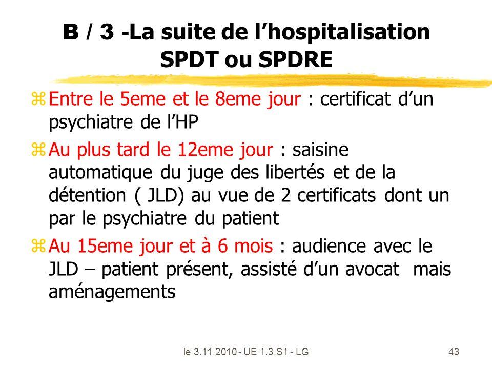 B / 3 - La suite de lhospitalisation SPDT ou SPDRE zEntre le 5eme et le 8eme jour : certificat dun psychiatre de lHP zAu plus tard le 12eme jour : sai