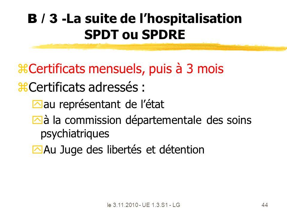 B / 3 - La suite de lhospitalisation SPDT ou SPDRE zCertificats mensuels, puis à 3 mois zCertificats adressés : yau représentant de létat yà la commis