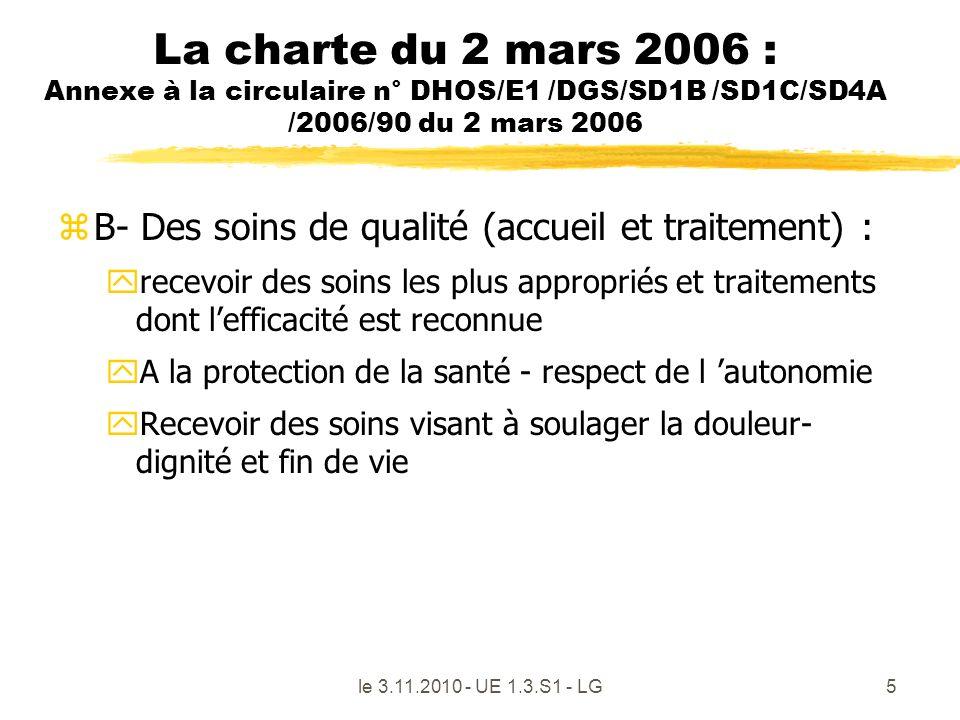 le 3.11.2010 - UE 1.3.S1 - LG5 La charte du 2 mars 2006 : Annexe à la circulaire n° DHOS/E1 /DGS/SD1B /SD1C/SD4A /2006/90 du 2 mars 2006 zB- Des soins