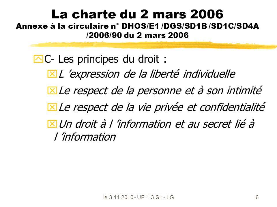 le 3.11.2010 - UE 1.3.S1 - LG6 La charte du 2 mars 2006 Annexe à la circulaire n° DHOS/E1 /DGS/SD1B /SD1C/SD4A /2006/90 du 2 mars 2006 yC- Les princip