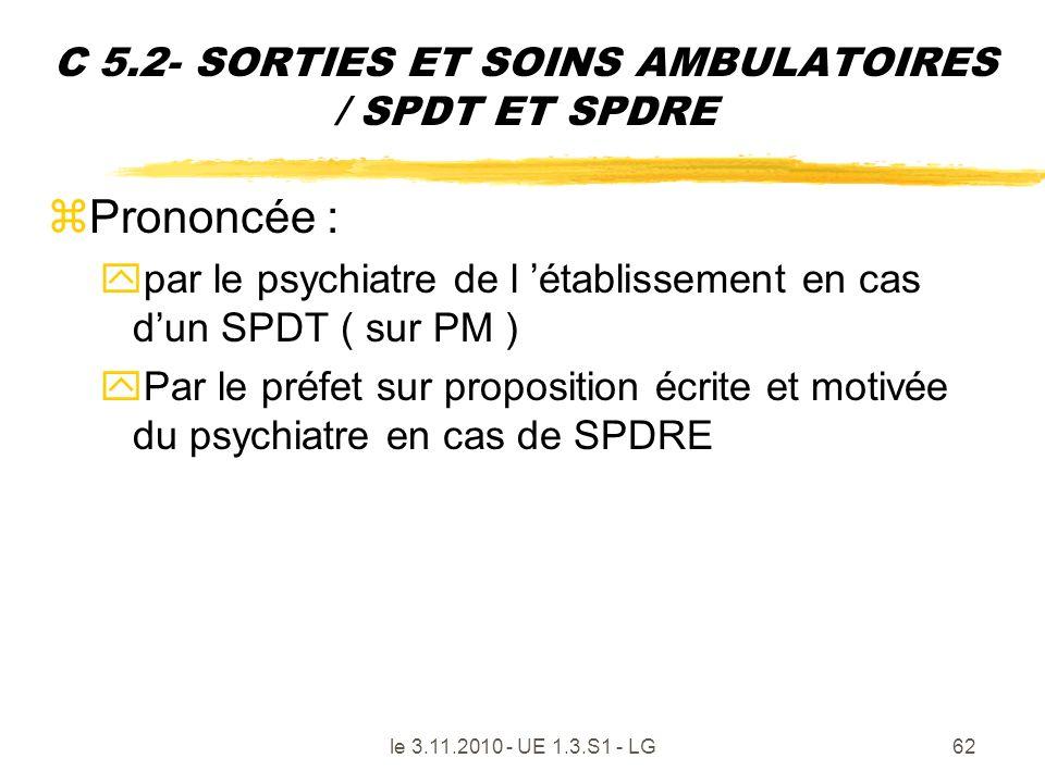 le 3.11.2010 - UE 1.3.S1 - LG62 C 5.2- SORTIES ET SOINS AMBULATOIRES / SPDT ET SPDRE zPrononcée : ypar le psychiatre de l établissement en cas dun SPD