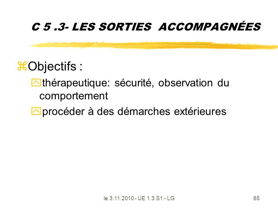 le 3.11.2010 - UE 1.3.S1 - LG65 C 5.3- LES SORTIES ACCOMPAGNÉES zObjectifs : ythérapeutique: sécurité, observation du comportement yprocéder à des dém