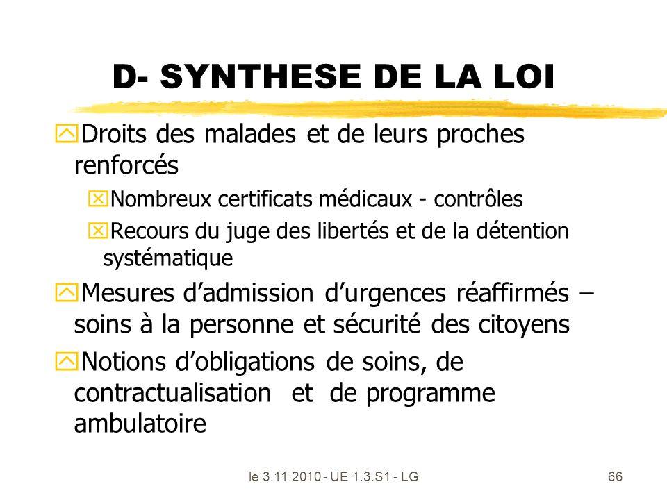 le 3.11.2010 - UE 1.3.S1 - LG66 D- SYNTHESE DE LA LOI yDroits des malades et de leurs proches renforcés xNombreux certificats médicaux - contrôles xRe
