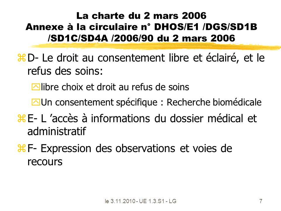 le 3.11.2010 - UE 1.3.S1 - LG7 La charte du 2 mars 2006 Annexe à la circulaire n° DHOS/E1 /DGS/SD1B /SD1C/SD4A /2006/90 du 2 mars 2006 zD- Le droit au