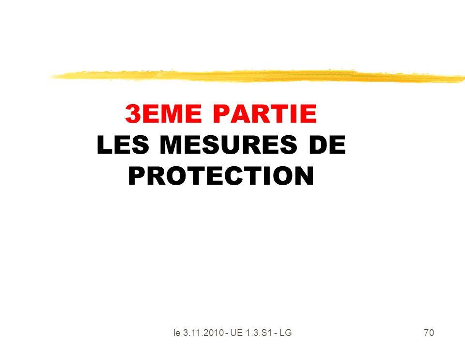 le 3.11.2010 - UE 1.3.S1 - LG70 3EME PARTIE LES MESURES DE PROTECTION