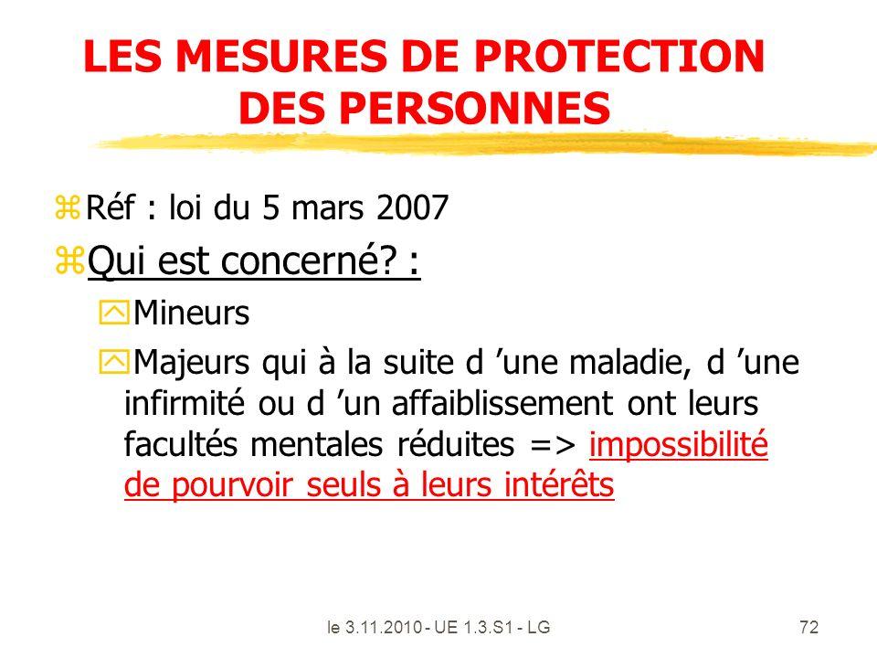 le 3.11.2010 - UE 1.3.S1 - LG72 LES MESURES DE PROTECTION DES PERSONNES zRéf : loi du 5 mars 2007 zQui est concerné? : yMineurs yMajeurs qui à la suit