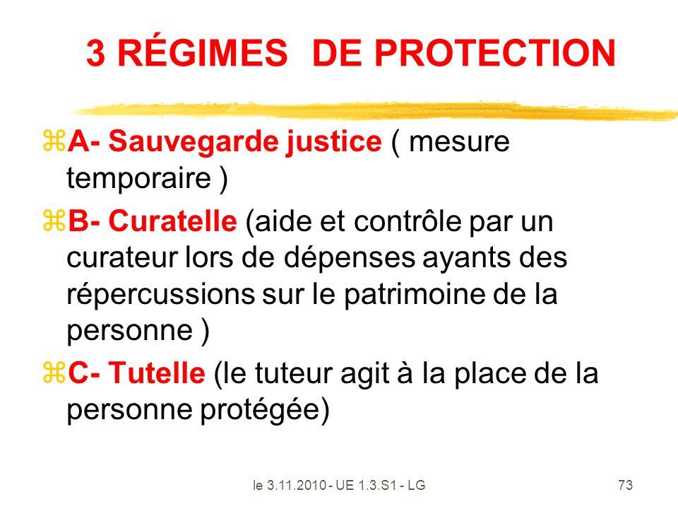 le 3.11.2010 - UE 1.3.S1 - LG73 3 RÉGIMES DE PROTECTION zA- Sauvegarde justice ( mesure temporaire ) zB- Curatelle (aide et contrôle par un curateur l