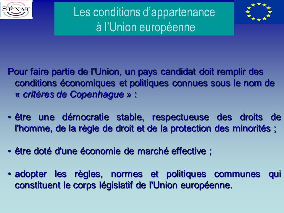 Pour faire partie de l'Union, un pays candidat doit remplir des conditions économiques et politiques connues sous le nom de « critères de Copenhague »