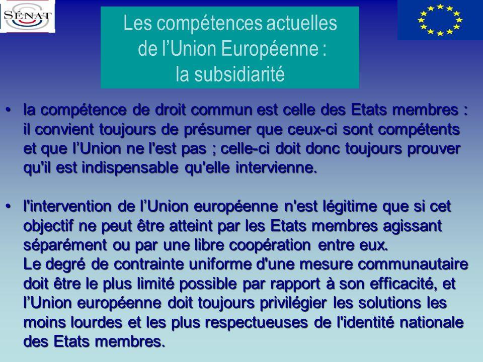 Les compétences actuelles de lUnion Européenne : la subsidiarité la compétence de droit commun est celle des Etats membres : il convient toujours de p