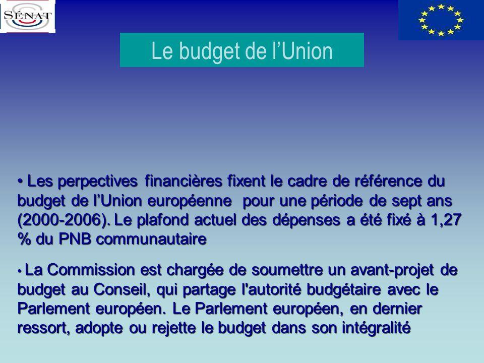 Le budget de lUnion L Les perpectives financières fixent le cadre de référence du budget de lUnion européenne pour une période de sept ans (2000-2006)