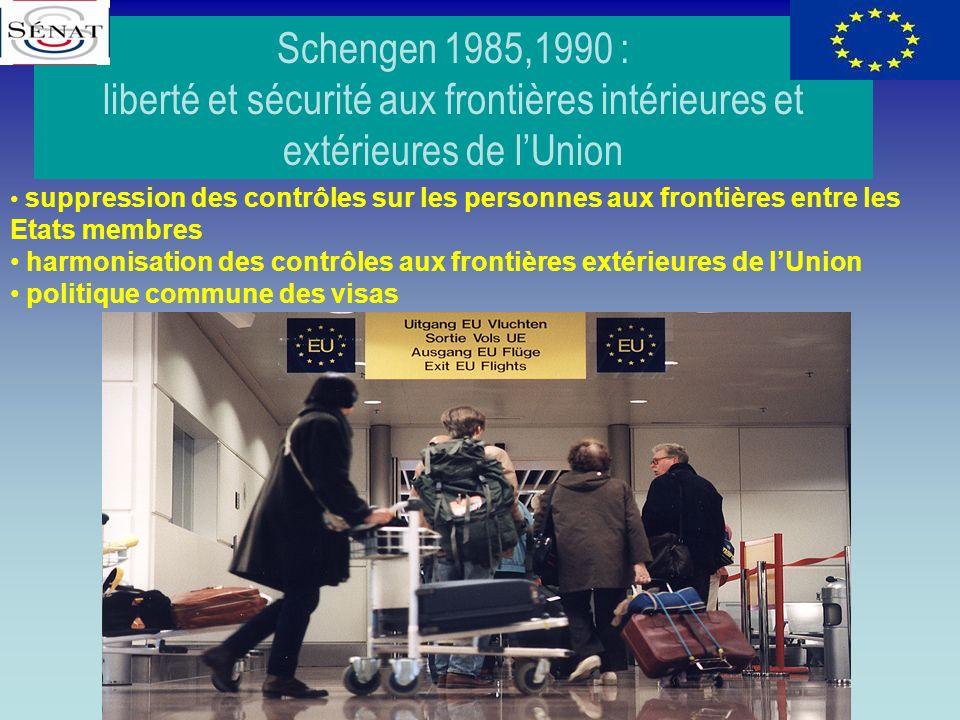 Schengen 1985,1990 : liberté et sécurité aux frontières intérieures et extérieures de lUnion suppression des contrôles sur les personnes aux frontière