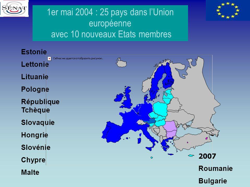 1er mai 2004 : 25 pays dans lUnion européenne avec 10 nouveaux Etats membres Estonie Lettonie Lituanie Pologne République Tchèque Slovaquie Hongrie Sl