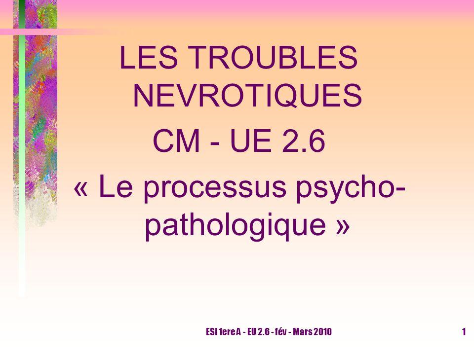 ESI 1ere A - EU 2.6 - fév - Mars 20101 LES TROUBLES NEVROTIQUES CM - UE 2.6 « Le processus psycho- pathologique »