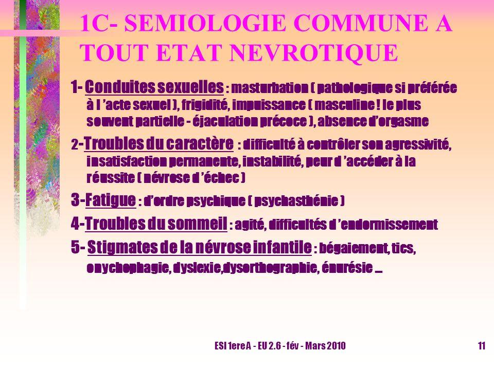 ESI 1ere A - EU 2.6 - fév - Mars 201011 1C- SEMIOLOGIE COMMUNE A TOUT ETAT NEVROTIQUE 1- Conduites sexuelles : masturbation ( pathologique si préférée