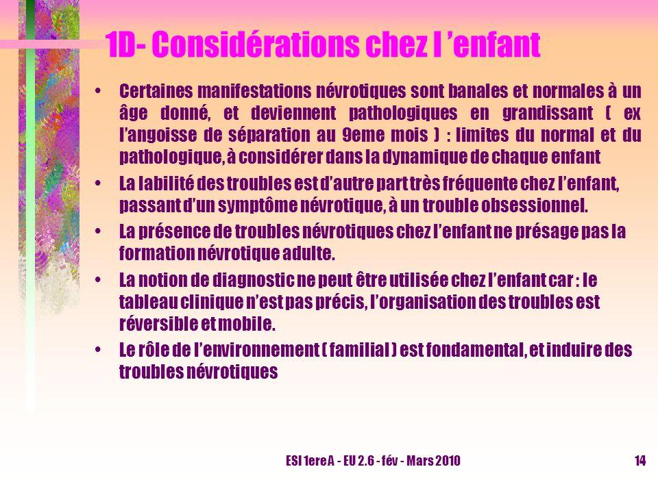 ESI 1ere A - EU 2.6 - fév - Mars 201014 1D- Considérations chez l enfant Certaines manifestations névrotiques sont banales et normales à un âge donné,