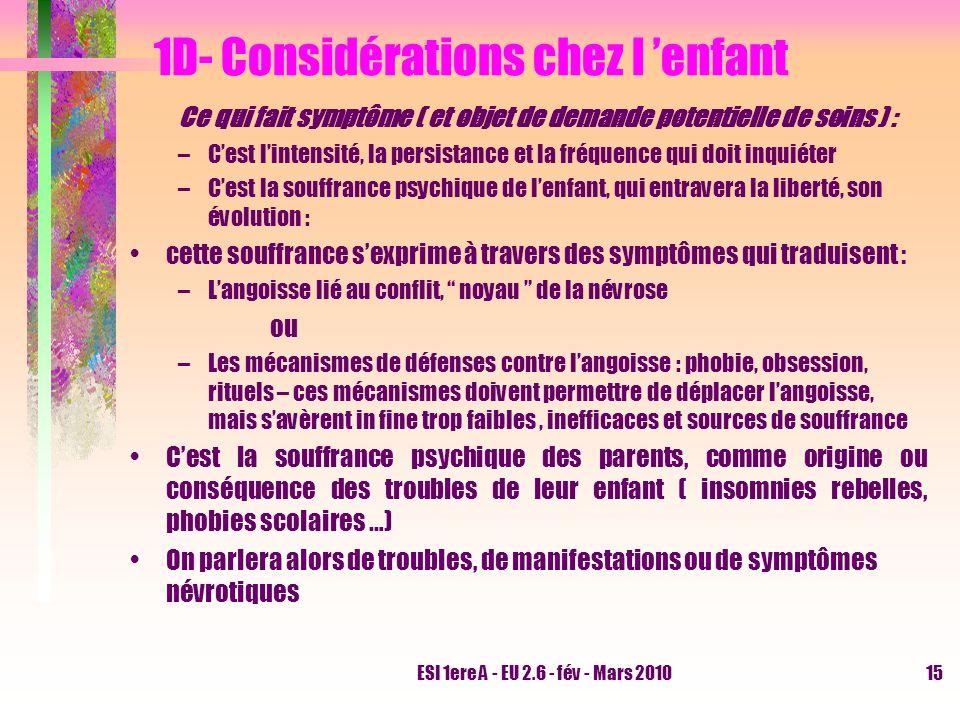 ESI 1ere A - EU 2.6 - fév - Mars 201015 1D- Considérations chez l enfant Ce qui fait symptôme ( et objet de demande potentielle de soins ) : –Cest lin
