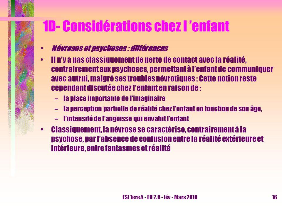 ESI 1ere A - EU 2.6 - fév - Mars 201016 1D- Considérations chez l enfant Névroses et psychoses : différences Il ny a pas classiquement de perte de con