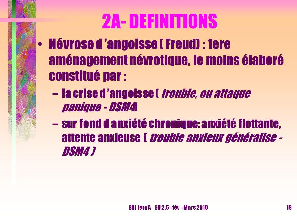 ESI 1ere A - EU 2.6 - fév - Mars 201018 2A- DEFINITIONS Névrose d angoisse ( Freud) : 1ere aménagement névrotique, le moins élaboré constitué par : –l