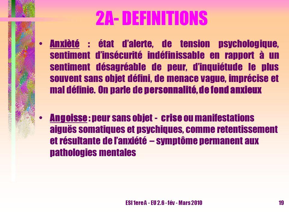 ESI 1ere A - EU 2.6 - fév - Mars 201019 2A- DEFINITIONS Anxièté : état dalerte, de tension psychologique, sentiment dinsécurité indéfinissable en rapp