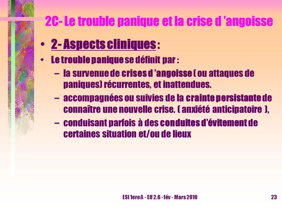 ESI 1ere A - EU 2.6 - fév - Mars 201023 2C- Le trouble panique et la crise d angoisse 2- Aspects cliniques : Le trouble panique se définit par : –la s